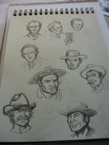 Some less successful sketches of misc. actors - and CHARLES BRONSON